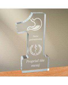 Cadou personalizat trofeu plexiglas cifra medical - Doctor gastroenterolog