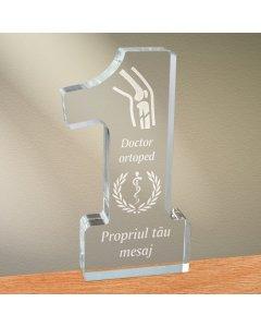 Cadou personalizat trofeu plexiglas cifra medical - Doctor ortoped