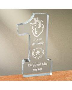 Cadou personalizat trofeu plexiglas cifra stele - Doctor cardiolog
