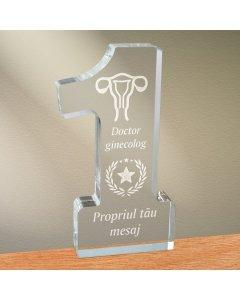 Cadou personalizat trofeu plexiglas cifra stele - Doctor ginecolog