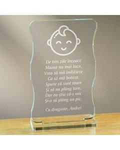 Cadou personalizat trofeu plexiglas cu suport - Botez băiețel