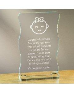 Cadou personalizat trofeu plexiglas cu suport - Botez fetita