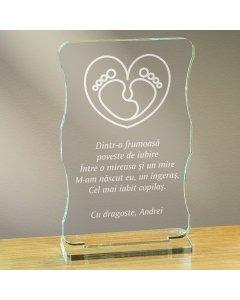 Cadou personalizat trofeu plexiglas cu suport - Cel mai iubit copilas