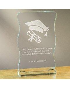 Cadou personalizat trofeu plexiglas cu suport - Fericirea depinde de ce gandesti | Ghizbi.ro