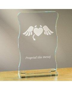 Cadou personalizat trofeu plexiglas cu suport - Inima dracusor