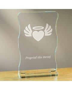Cadou personalizat trofeu plexiglas cu suport - Inima inger
