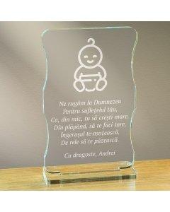 Cadou personalizat trofeu plexiglas cu suport - Ne rugam la Dumnezeu
