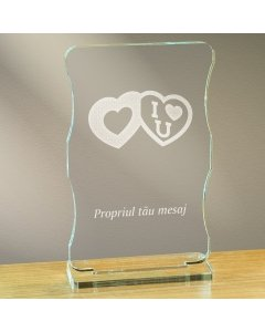 Cadou personalizat trofeu plexiglas cu suport - Te iubesc