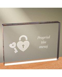 Cadou personalizat trofeu plexiglas dreptunghiular - Cheia inimii mele