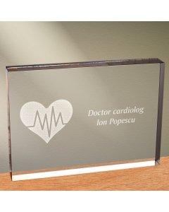 Cadou personalizat trofeu plexiglas dreptunghiular - Doctor cardiolog 2