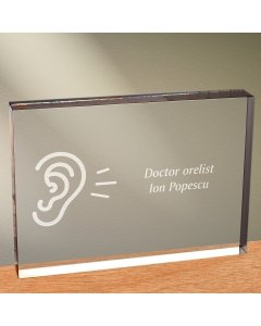 Cadou personalizat trofeu plexiglas dreptunghiular - Doctor orelist
