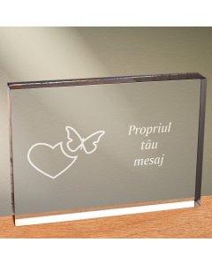 Cadou personalizat trofeu plexiglas dreptunghiular - Emotii de iubire