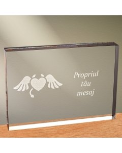 Cadou personalizat trofeu plexiglas dreptunghiular - Inima dracusor