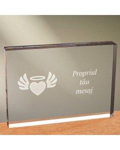 Cadou personalizat trofeu plexiglas dreptunghiular - Inima inger