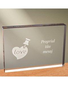 Cadou personalizat trofeu plexiglas dreptunghiular - Notita de iubire
