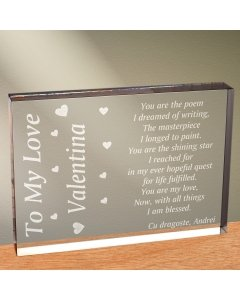 Cadou personalizat trofeu plexiglas dreptunghiular - Pentru iubirea mea
