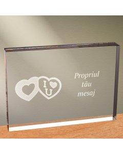 Cadou personalizat trofeu plexiglas dreptunghiular - Te iubesc