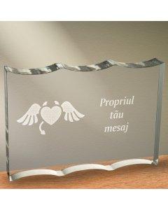 Cadou personalizat trofeu plexiglas dreptunghiular cu onduleuri - Inima dracusor