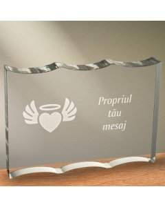 Cadou personalizat trofeu plexiglas dreptunghiular cu onduleuri - Inima inger