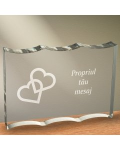 Cadou personalizat trofeu plexiglas dreptunghiular cu onduleuri - Inimi legate