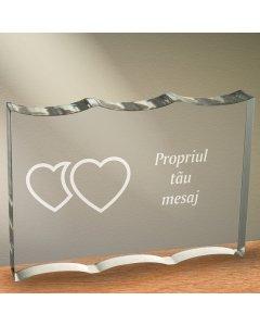 Cadou personalizat trofeu plexiglas dreptunghiular cu onduleuri - Unul langa celalalt