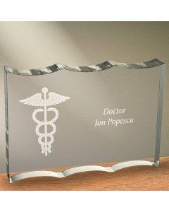 Cadou personalizat trofeu plexiglas dreptunghiular tesitura ondulata - Doctor