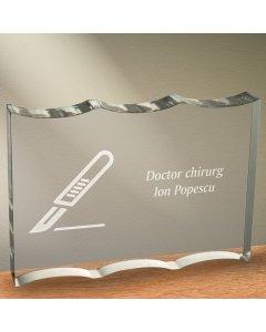 Cadou personalizat trofeu plexiglas dreptunghiular tesitura ondulata - Doctor chirurg