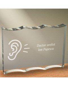 Cadou personalizat trofeu plexiglas dreptunghiular tesitura ondulata - Doctor orelist