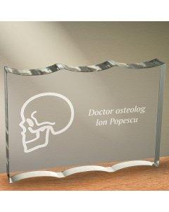 Cadou personalizat trofeu plexiglas dreptunghiular tesitura ondulata - Doctor osteolog