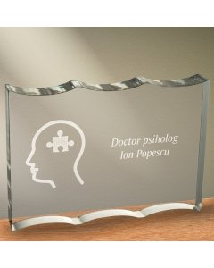 Cadou personalizat trofeu plexiglas dreptunghiular tesitura ondulata - Doctor psiholog
