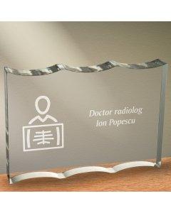 Cadou personalizat trofeu plexiglas dreptunghiular tesitura ondulata - Doctor radiolog