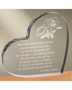 Cadou personalizat trofeu plexiglas inima - Fara nume