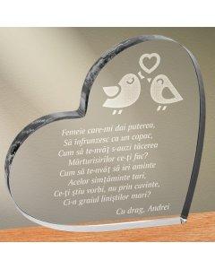 Cadou personalizat trofeu plexiglas inima - Femeie care imi dai puterea