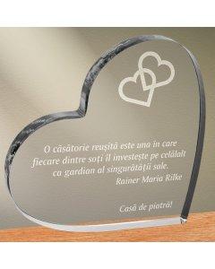 Cadou personalizat trofeu plexiglas inima - Gardienii singuratatii