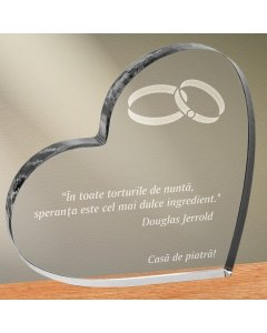 Cadou personalizat trofeu plexiglas inima - Speranta, cel mai dulce ingredient