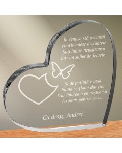 Cadou personalizat trofeu plexiglas inima - Suflet de femeie