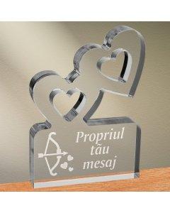 Cadou personalizat trofeu plexiglas inimi - Arcul lui Cupidon