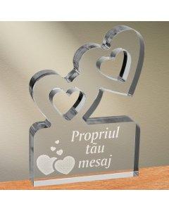 Cadou personalizat trofeu plexiglas inimi - Cadou din dragoste
