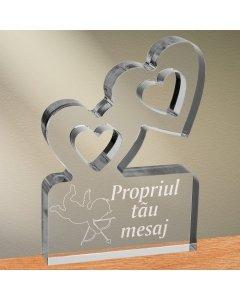 Cadou personalizat trofeu plexiglas inimi - Dovada de iubire