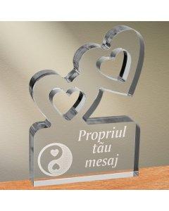 Cadou personalizat trofeu plexiglas inimi - Echilibru in dragoste