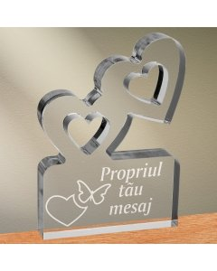 Cadou personalizat trofeu plexiglas inimi - Emotii de iubire
