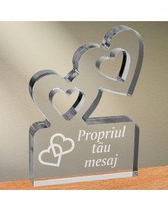 Cadou personalizat trofeu plexiglas inimi - Inimi legate