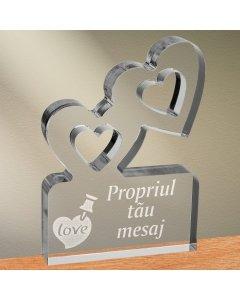 Cadou personalizat trofeu plexiglas inimi - Notita de iubire