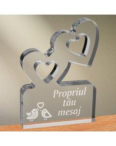 Cadou personalizat trofeu plexiglas inimi - Perechea perfecta