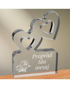 Cadou personalizat trofeu plexiglas inimi - Trandafir