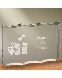 Cadou personalizat trofeu plexiglas dreptunghiular tesitura ondulata - Cadou din dragoste