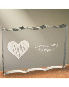 Cadou personalizat trofeu plexiglas dreptunghiular tesitura ondulata - Doctor cardiolog 2