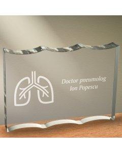 Cadou personalizat trofeu plexiglas dreptunghiular tesitura ondulata - Doctor pneumolog
