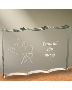 Cadou personalizat trofeu plexiglas dreptunghiular tesitura ondulata - Dovada de iubire