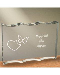 Cadou personalizat trofeu plexiglas dreptunghiular tesitura ondulata - Emotii de iubire
